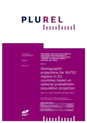 Demographic projections for NUTS2 regions in EU countries ... - Plurel