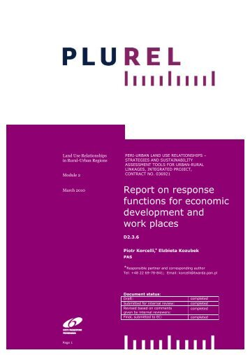 Response functions for economic development and work ... - Plurel