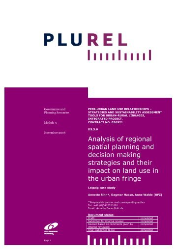 Analysis of regional spatial planning and decision making ... - Plurel