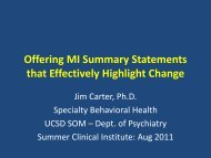 UCSD SCI 2011 MI Summaries Workshop - Specialty Behavioral ...