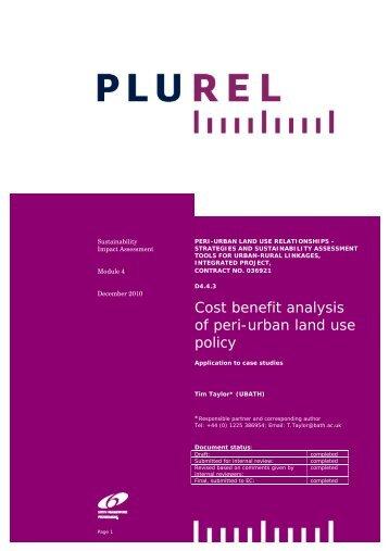 Cost benefit analysis of peri-urban land use policy - Plurel