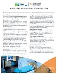 Marian PET/CT Center Patient Information Sheet - Mission Hope ...