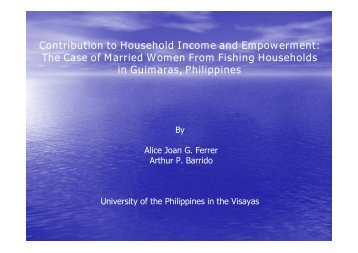Contribution to Household Income and Empowerment: The Case of ...