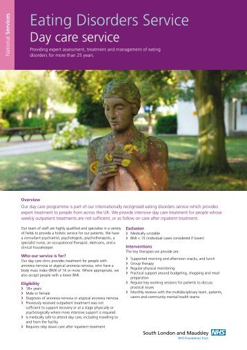 Eating Disorders Day Care Service leaflet - SLaM National Services