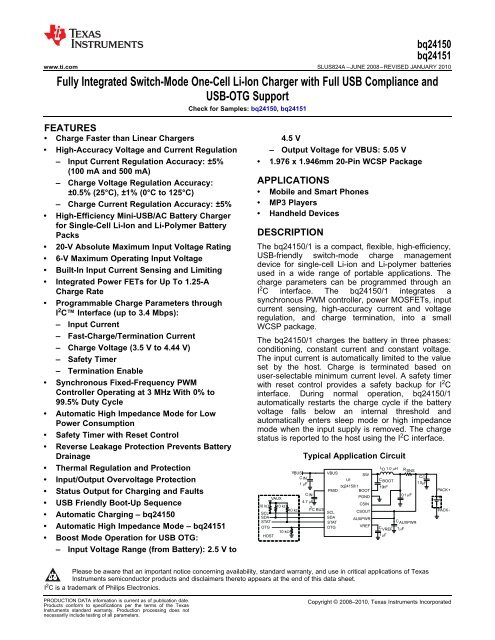 Fully Integrated Switch-Mode One-Cell Li-Ion     - Texas