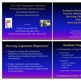 Two Unit's Experience with Nursing Students Capstone Projects ...