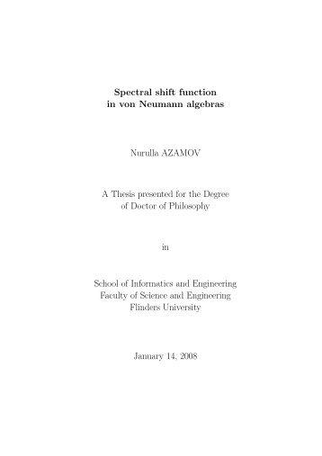 Spectral shift function in von Neumann algebras Nurulla AZAMOV A ...