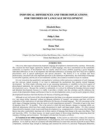 individual differences and their implications for theories of