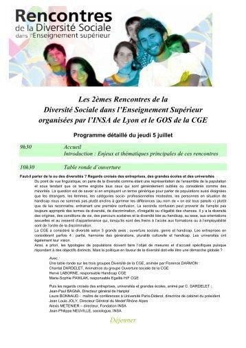 Les 2èmes Rencontres de la Diversité Sociale dans l'Enseignement ...