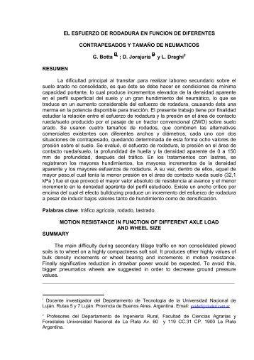 EL ESFUERZO DE RODADURA Y LA PRESION SUPERFICIAL