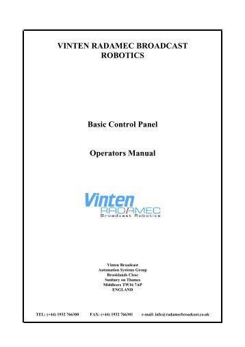 VINTEN RADAMEC BROADCAST ROBOTICS Basic Control Panel ...