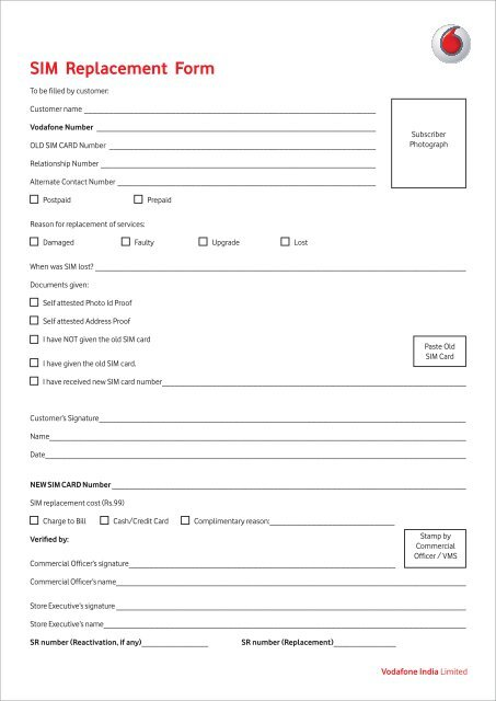 SIM Replacement Form - Vodafone