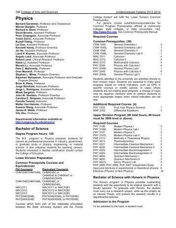 Physics - Course Catalogs