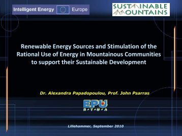 Renewable Energy Sources and Stimulation of the ... - Euromontana