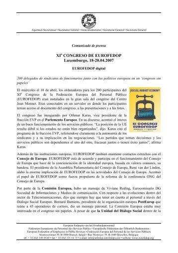 Comunicado de prensa - Eurofedop