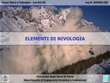 ELEMENTI DI NIVOLOGIA - Università degli Studi di Pavia
