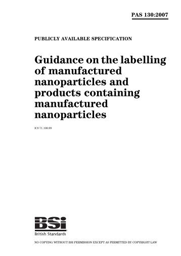 PAS 130:2007 - Nanotech Regulatory Document Archive