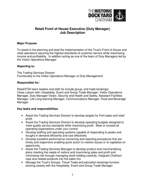 Retail Front of House Executive (Duty Manager) Job Description
