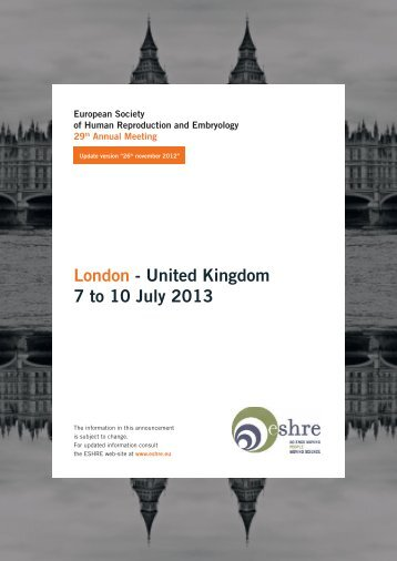 London - United Kingdom 7 to 10 July 2013 - eshre 2013