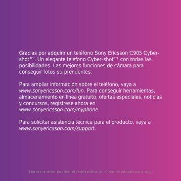 Gracias por adquirir un teléfono Sony  Ericsson C905 Cyber- shot ...