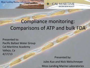 Compliance monitoring Comparisons of ATP and bulk FDA (J. Kuo ...