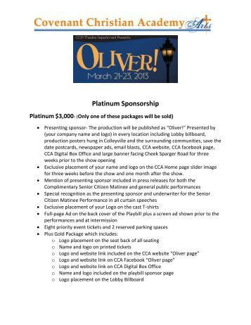 to open our Sponsorship Ad Brochure for details - Covenant ...