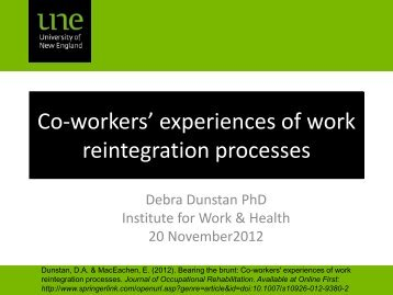 Bearing the brunt: Co-workers' experiences of work reintegration ...