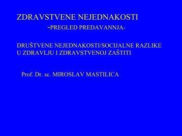 Zdravstvene nejednakosti: M. Mastilica