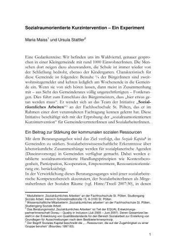 Sozialraumorientierte Kurzintervention - Fachhochschule St. Pölten