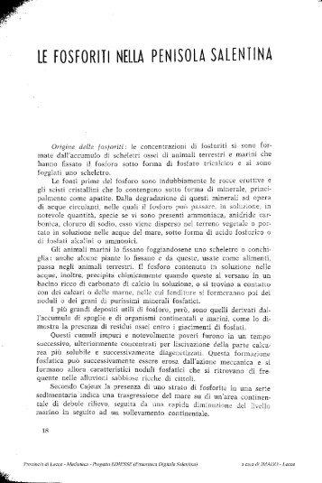 LE FOSFORITI NELLA PENISOLA SALENTINA - culturaservizi.it