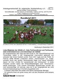 Rundbrief 2011 - Arbeitsgemeinschaft für artgerechte ...