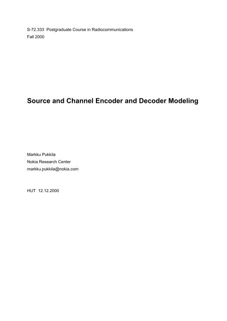 Source and Channel Encoder and Decoder Modeling