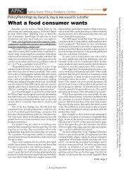 What a food consumer wants - Agricultural Policy Analysis Center