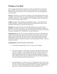 Writing a Case Brief - Department of Sociology and Criminal Justice