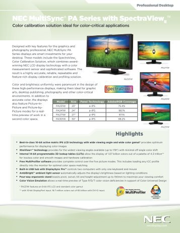 NEC MultiSync® PA Series with SpectraView - NEC Display Solutions