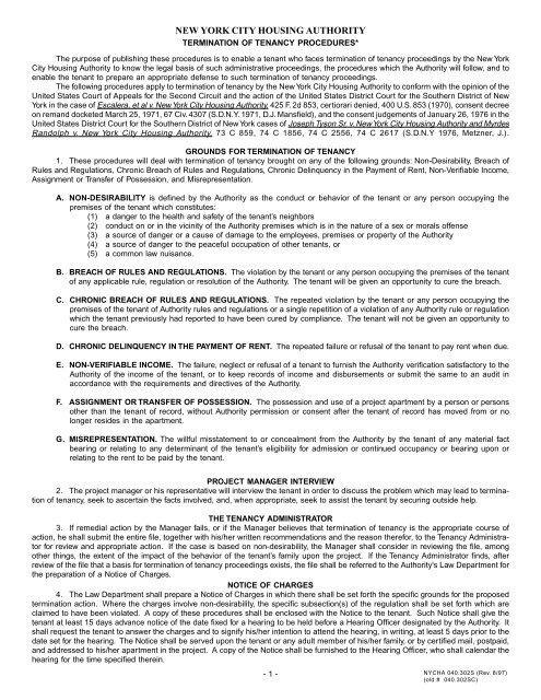 NYCHA Termination of Tenancy Proceedures - Blogs @ Columbia