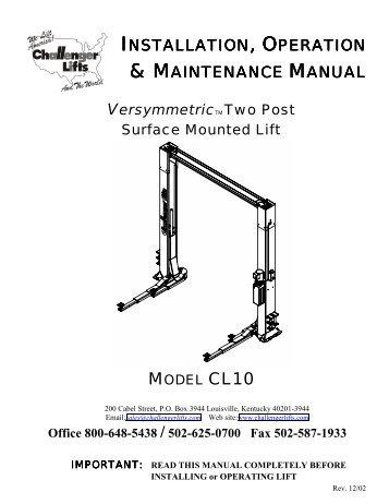 model cl9 installation o rh yumpu com challenger lift parts manual challenger lift cl10v3 manual