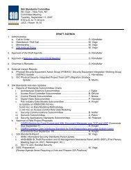 Draft Agenda SIA Standards Committee Meeting - 2007/09/11