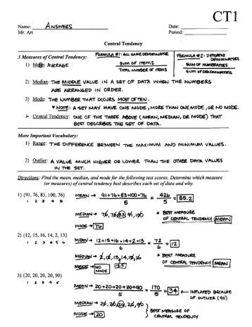 Worksheets Measure Of Central Tendency Worksheet measures of central tendency mean median and mode worksheet ct1 answers pdf