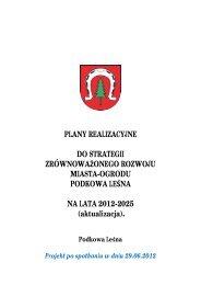 Plany realizacyjne do Strategii Zrównoważnonego Rozwoju Miasta ...