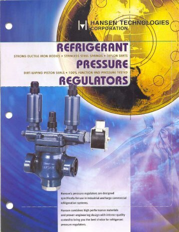 Refrigerant Pressure Regulators Brochure - Hansen Technologies