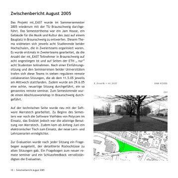 Zwischenbericht August 2005 - mt_east - ETH Zürich
