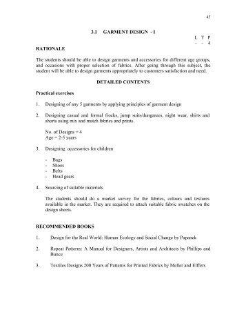 3.1 GARMENT DESIGN - I L   T   P   - - 4 RATIONALE The ... - hsbte