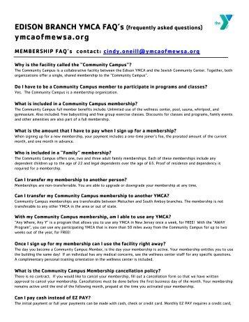 Edison Branch YMCA FAQ's - Ymcaofmewsa.org