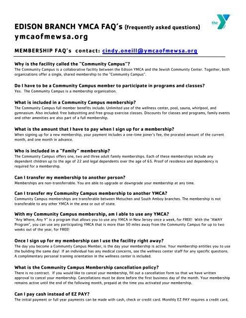 Edison Branch YMCA FAQ's - Ymcaofmewsa org