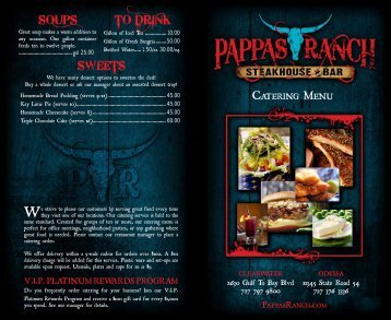 SWEETS To drink SoupS - Pappas Ranch