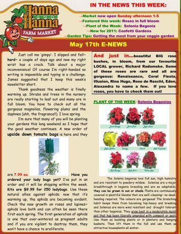 May 17th E-NEWS - Hanna & Hanna Orchards