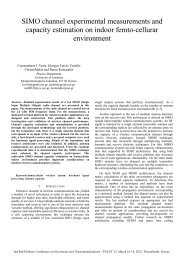 SIMO channel experimental measurements and capacity estimation ...