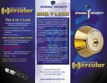 SSI Hercular Deadbolt Brochure - Spadina Security Inc.