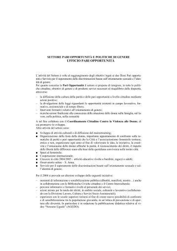 13 Settore Pari Opportunità e Politiche di Genere - Rete Pari ...